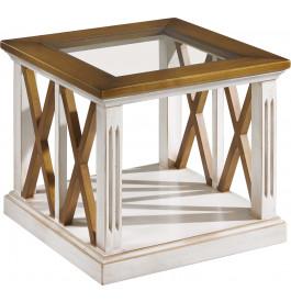 bout de canap plateau verre ch ne blanc d cors croisillons. Black Bedroom Furniture Sets. Home Design Ideas