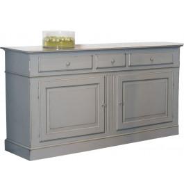 Buffet 2 portes 3 tiroirs laque grise