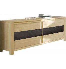 buffet 2 portes coulissante ch ne naturel c ramique. Black Bedroom Furniture Sets. Home Design Ideas