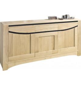Buffet 3 portes chêne massif blanchi 1 tiroir