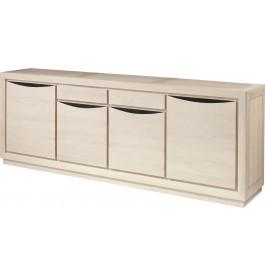 Buffet 4 portes chêne massif blanc pierre 2 tiroirs
