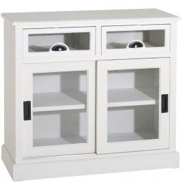 Buffet bois exotique blanc 2 portes coulissantes 2 tiroirs vitrés