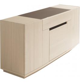 Buffet chêne blanchi 3 portes 1 tiroir décor verre taupe