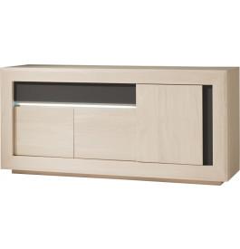 Buffet chêne blanchi 3 portes 1 tiroir décors verre anthracite