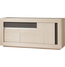 Buffet chêne blanchi 3 portes 1 tiroir décors verre taupe