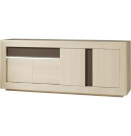 Buffet chêne blanchi 4 portes 1 tiroir décors verre taupe