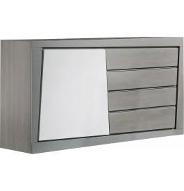 Buffet chêne massif gris 1 porte 4 tiroirs