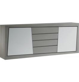 Buffet chêne massif gris 2 portes 4 tiroirs