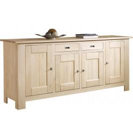 Buffet chêne massif naturel blanchi 4 portes 2 tiroirs