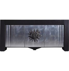 Buffet chêne noir décor soleil 3 portes feuilles d'argent