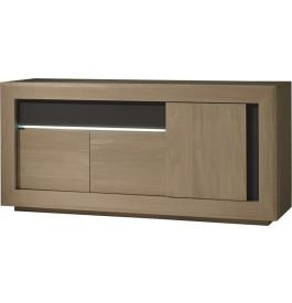 Buffet chêne taupe 3 portes 1 tiroir décors verre anthracite