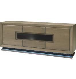 Buffet chêne taupe 3 portes décor et socle verre anthracite