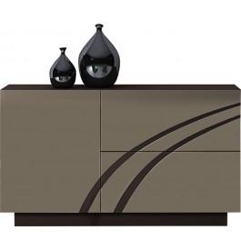 Buffet design 1 porte 2 tiroirs laque chocolat et taupe