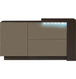 Buffet design 1 porte 2 tiroirs laque chocolat et taupe avec module