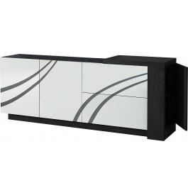 Buffet design 2 portes 2 tiroirs laque noir et blanc avec module