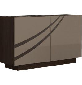 Buffet design 2 portes chêne chocolat laque taupe