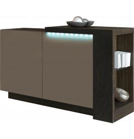 Buffet design 2 portes chêne chocolat laque taupe avec module