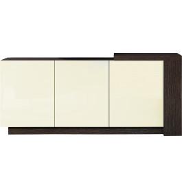 Buffet design 3 portes chêne chocolat laque ivoire avec module