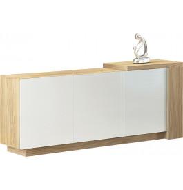 Buffet design 3 portes chêne naturel laque blanc avec module