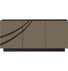 Buffet design 3 portes laque chocolat et taupe