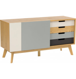 Buffet scandinave chêne naturel 2 portes 4 tiroirs multicolores