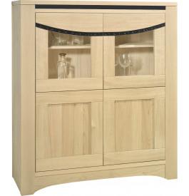 Buffet vaisselier 4 portes chêne massif blanchi