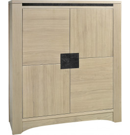 buffet vaisselier ch ne massif taupe 4 portes d cors ardoise. Black Bedroom Furniture Sets. Home Design Ideas