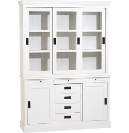 buffet vaisselier bois exotique blanc 5 portes coulissantes 4 tiroirs. Black Bedroom Furniture Sets. Home Design Ideas