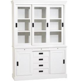 Buffet vaisselier bois exotique blanc 5 portes coulissantes 4 tiroirs - Vaisselier blanc et bois ...
