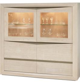 Buffet vaisselier chêne blanchi et chêne gris 4 portes