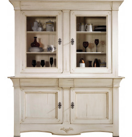 buffet vaisselier ch ne massif 2 corps 2 portes teint blanc. Black Bedroom Furniture Sets. Home Design Ideas