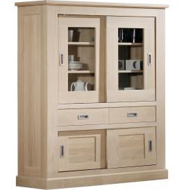 buffet vaisselier ch ne massif naturel 4 portes coulissantes 2 tiroirs. Black Bedroom Furniture Sets. Home Design Ideas