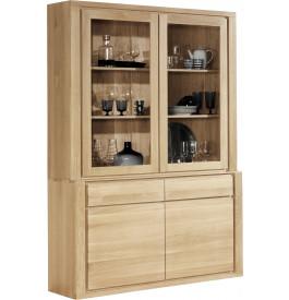 buffet vaisselier ch ne massif naturel 2 corps 2 portes. Black Bedroom Furniture Sets. Home Design Ideas