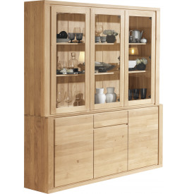 buffet vaisselier ch ne massif naturel 2 corps 3 portes. Black Bedroom Furniture Sets. Home Design Ideas