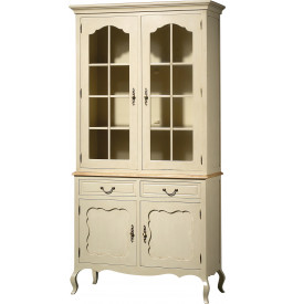 buffet vaisselier h tre laque blanc 3 tag res 4 portes 2 tiroirs pieds galb s. Black Bedroom Furniture Sets. Home Design Ideas