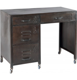 bureau acier peinture vieillie 4 tiroirs roulettes. Black Bedroom Furniture Sets. Home Design Ideas