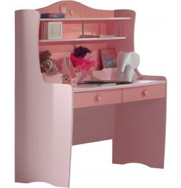 Bureau enfant princesse laqué rose 2 tiroirs LIZZY