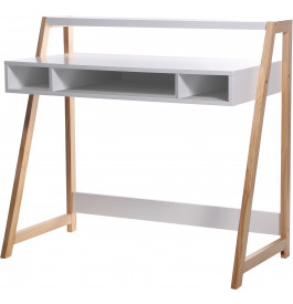 Bureau scandinave blanc 3 niches 1 étagère