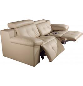 Canapé 2 places cuir beige relax électrique têtières réglables