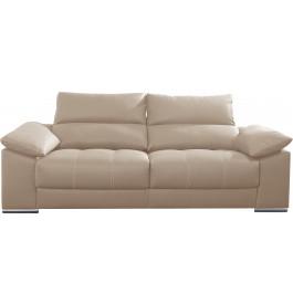 Canapé 2 places cuir beige relax têtières réglables assises coulissantes