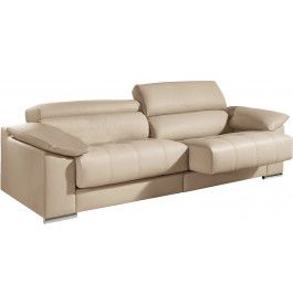 canap 2 places cuir beige relax t ti res r glables assises coulissantes. Black Bedroom Furniture Sets. Home Design Ideas