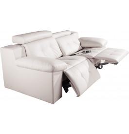 Canapé 2 places cuir blanc relax électrique têtières réglables