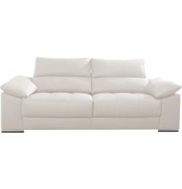 Canapé 2 places cuir blanc relax têtières réglables assises coulissantes