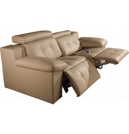 Canapé 2 places cuir cappuccino relax électrique têtières réglables