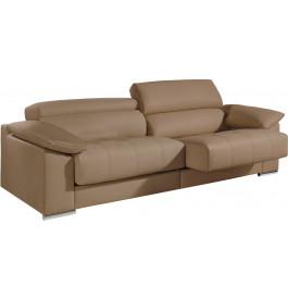 Canapé 2 places cuir cappuccino relax têtières réglables assises coulissantes