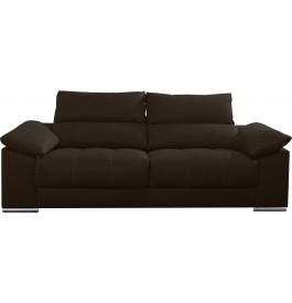 Canapé 2 places cuir chocolat relax têtières réglables assises coulissantes