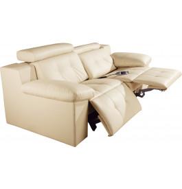 Canapé 2 places cuir crème relax électrique têtières réglables