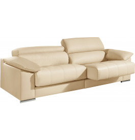 Canapé 2 places cuir crème relax têtières réglables assises coulissantes