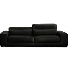 Canapé 2 places cuir et acier chromé Larry noir