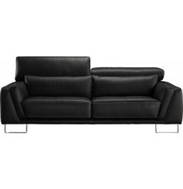 Canapé 2 places cuir noir coutures contrastées